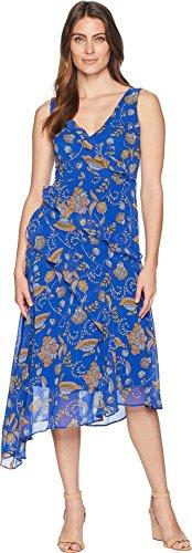Taylor Dresses Women's Asymmetrical Paisley Print Chiffon v-Neck Sleeveless Dress, Royal Medallion, Size 10