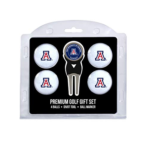(Team Golf NCAA Arizona Wildcats Regulation Size Golf Balls (4 Count) & Divot Tool with Removable Double-Sided Magnetic Marker)