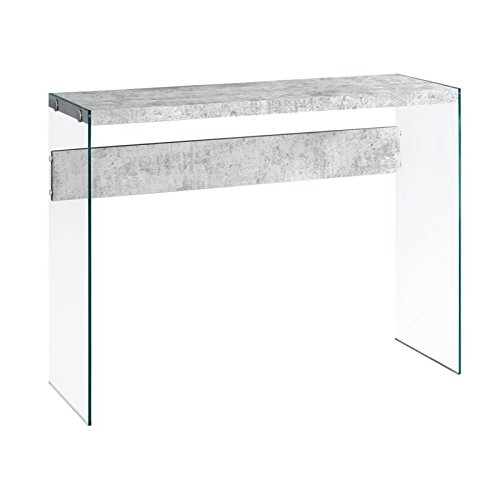 Monarch specialties I 3232, Console Sofa Table, Tempered Glass, Grey Cement, 44″L