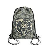 Gift for Football Fans Camouflage Funny Drawstring Backpack Sport Gym Cinch Bag Travel Storage