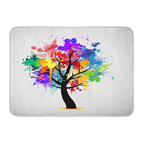 Emvency Bath Mat Orange Rainbow Blue Color Multi Colored Paint Splat Abstract Tree Green Ink Pink Splash Bathroom Decor Rug 16