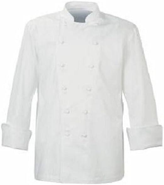 Chaqueta de cocinero, color blanco con blanco Poppers botones Catering uniforme, restaurante, ins04, Blanco, Large: Amazon.es: Hogar