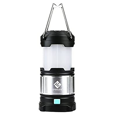 Rechargeable Camping Lantern , Etekcity Upgraded LED lantern with Magnetic Base, 4400mah USB Power Bank (Black) by Etekcity