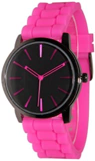 Tzou New Hot Pink w/ Black Silicone Watch