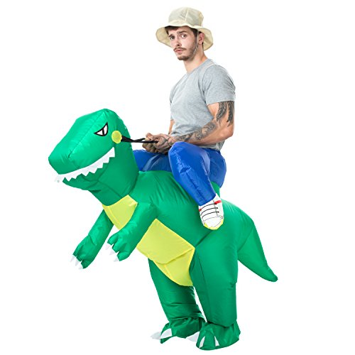 VOCOO Inflatable Dinosaur T-REX Halloween Costume Adults Cosplay Inflatable Costume (Green) -
