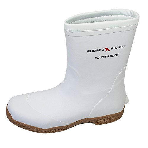 Rugged Shark Men's Premium Waterproof Fishing Deck Boot Great White with All-Day Comfort Footbed, size 8 to 13 - White Waders