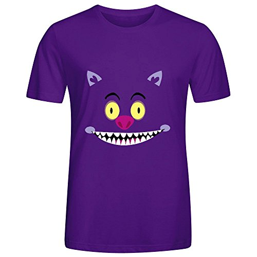 Cheshire Cat Mens Crew Neck Digital Printed Shirt Purple (Tagless Cat Collar)