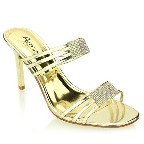Mujer Señoras noche Boda Party tacón alto Open Toe Diamante Nupcial Sandalia Zapatos Tamaño (Luz de Oro, Plata, Negro) Luz de Oro