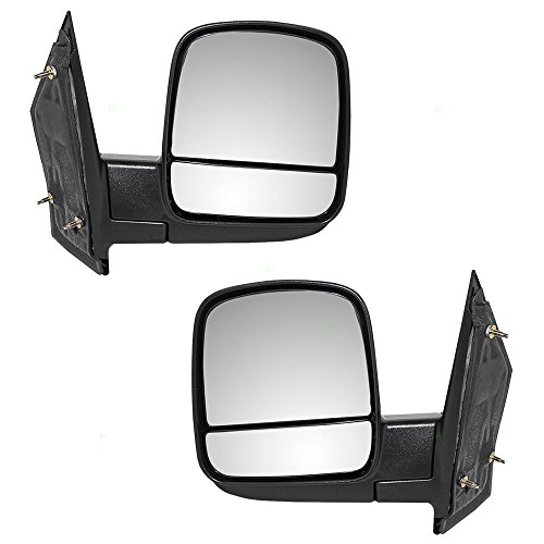 Pair Set Manual Side View Mirrors w/Dual Glass Replacement for Chevrolet Express GMC Savana Van 20838065 20838066 AutoAndArt