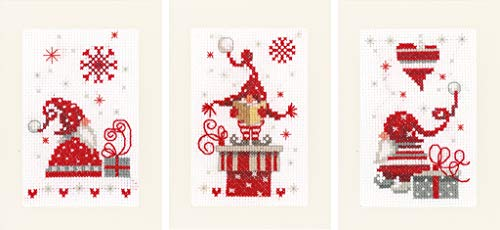 Vervaco Christmas Gnomes Cards Counted Cross-Stitch Kit (Cross Christmas Gnomes Stitch)