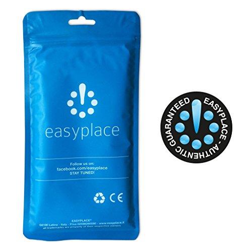 EASYPLACE® - Cover Case in Silicone Tpu EFFETTO PELLE VINTAGE con Impuntura a Strisce - STRIPES CELESTE e BIANCO - Apple iPhone 5 5S- Custodia Flessibile e Resistente