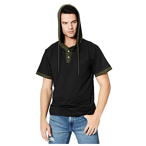 Grote en lange heren workout korte mouw hoodie t-shirt korte mouw gym hoodies hooded tops outdoor running fitness
