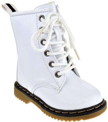 Alyson-01KA Baby Girls Combat Lace Up Patent Boots White 7 Toddler