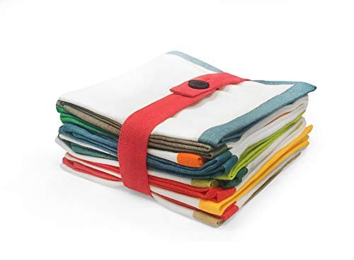 """Cloth Napkins Set of 12 Cocktail Napkins Linen Napkins Folded Table Decorations Table Linens Table Settings Bordered Assorted Colors 10"""" Square 5"""" x 5"""""""