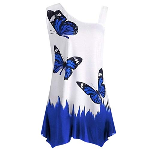 Large Size Women Tank Tops Casual Oblique Collar Butterfly Printing Irregular T-Shirt Summer Sleeveless Blouse from Dacawin-Women Tops