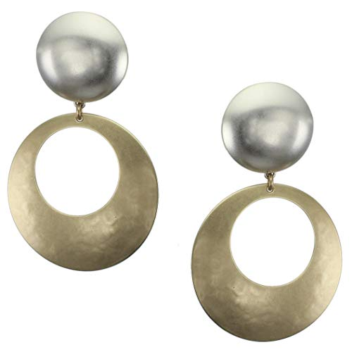 Marjorie Baer Large Smooth Silver Dome with Brass Cutout Disc Clip Earring