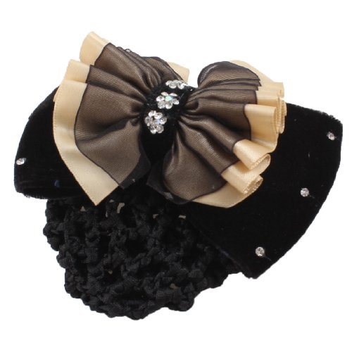 UXcell Rhinestone Bowknot Woman Cover Hair Clip, Black Be...