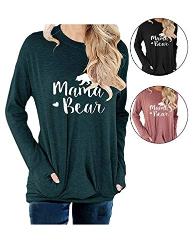barnkas Women Mama Bear Shirt Loose Casual Tops T-Shirts Crew Neck Batwing Sleeve Sweatshirt Patches Blouse - Sleeve Long Bear T-shirt