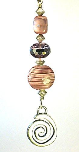 Silvery Swirl Spiral & Lavender Lilac Lampwork Glass Ceiling Fan Pull Chain
