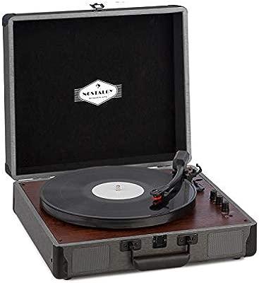 auna Billy Bob Tocadiscos portátil - Reproductor de vinilos , Altavoces estéreo , Bluetooth , AUX , RCA , 33, 45 y 78 RPM , Asa de Transporte , Diseño ...