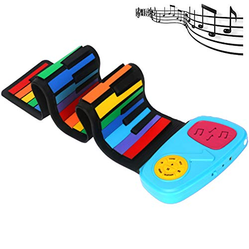 [해외]DSYYF Silicone Roll Up Rainbow Piano Multifunctional 49 Keys Flexible Electric Piano RechargeableBuilt-in Speaker for Educational Toy Blue / DSYYF Silicone Roll Up Rainbow Piano, Multifunctional 49 Keys Flexible Electric Piano Rech...