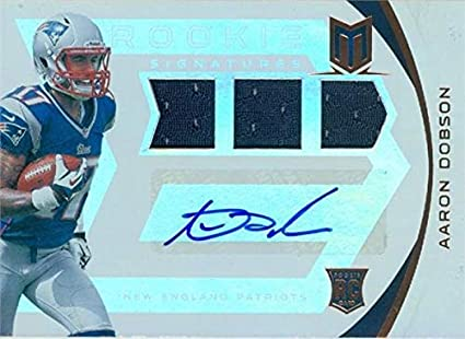 Aaron Dobson autographed player worn jersey patch football card ...