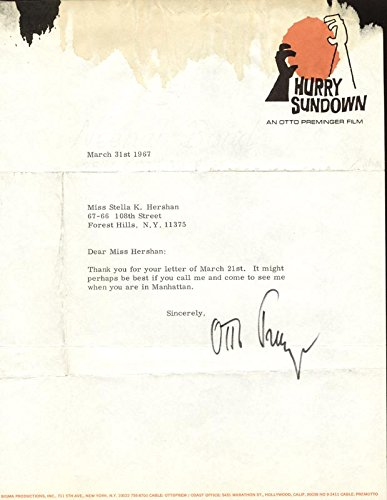 Otto Preminger Typed Letter Signed 03/31/1967