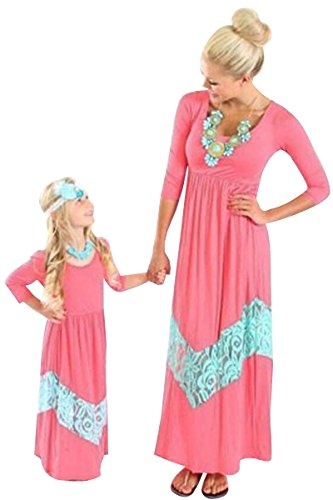 Bai You Mei Mommy and Me Long Sleeve Boho Striped Chevron Maxi Dresses Light Blue+Pink 9-10T (Pink And Blue Chevron Dress)