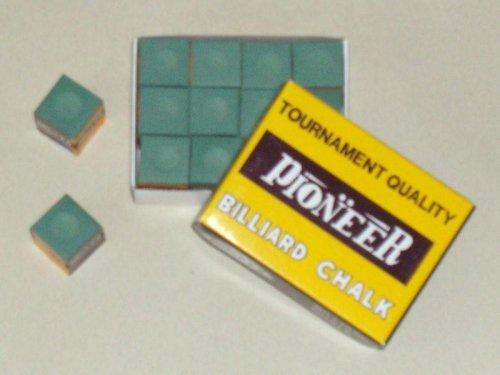 12 Pieces Billard chalk Pioneer Tournament green