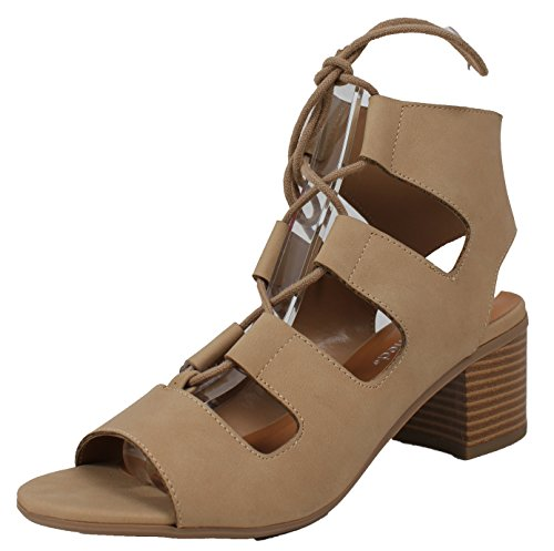 City Classified Women's Open Toe Lace up Cutout Stacked Chunky Heel Sandal (Natural, 9 B(M) US)