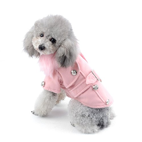 PEGASUS SELMAI Small Dog Wool Coat Duffle Pet Jacket Yorkie Clothes Apparel for Girls Western Style Winter Double-Breasted Pea Coat Faux Collar Baby Pink M