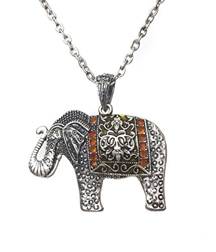 Long Brown Rhinestone Silver Tone Lucky Elephant Necklace by Gypsy Jewels