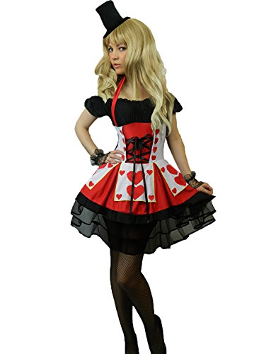 Queen Of Hearts Costume Images (Yummy Bee Womens Queen Hearts Fairytale Costume Gloves Hat Red Size 10 - 12)