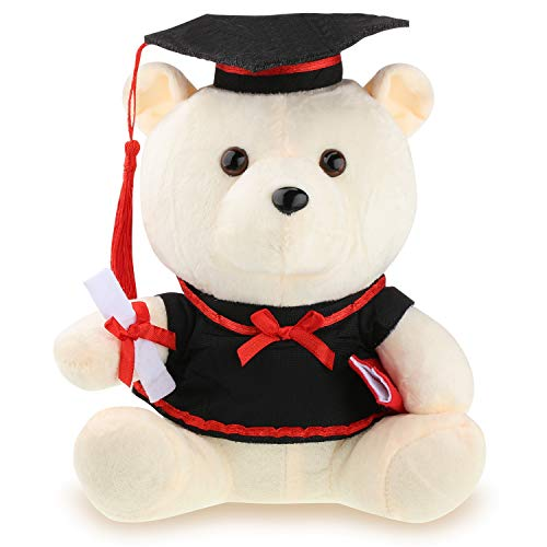 Graduation Gift Bear Graduation 2019 Bear Graduation Plush Animal with Black Cap for Grads Home Table Decorations (Beige)