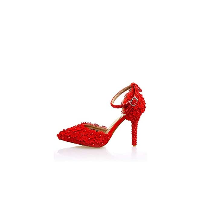 Qiusa Ladies Flowers Red Wedding Pumps Shoes Uk 3 5 colore - Dimensione -