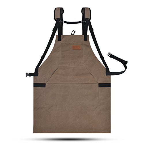 LURAD Tool Apron Waterproof with Waist Adjustments Padded Shoulder Strap Workshop Apron with Pockets for Men & Women-Brown by LURAD