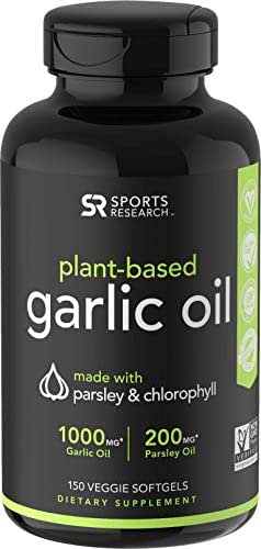 Odorless Garlic Oil Pills (1000mg) with Parsley & Chlorophyll | The only Vegan Certified Garlic Supplement Available | 150 Veggie softgels