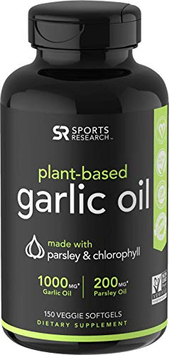 Odorless Garlic Oil Pills (1000mg) with Parsley & Chlorophyll | The only Vegan Certified Garlic Supplement Available | 150 Veggie softgels (Kosher Garlic)