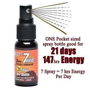 7 heures d'énergie par jour, 1 bouteille utilisation pendant 21 jours: Tire Extincteur-énergie de pulvérisation, toute la nature, sans caféine, No Sugar Rush / Crash