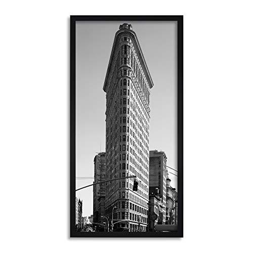 Wee Blue Coo Flatiron Building New York BW Long Panel Framed Wall Art Print ()