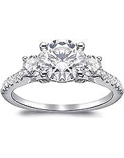 Simulation D Color 2 Carat Moissanite Three Round Diamonds Engagement Wedding Eternal Diamond Ring for Women (US Code 6-9)