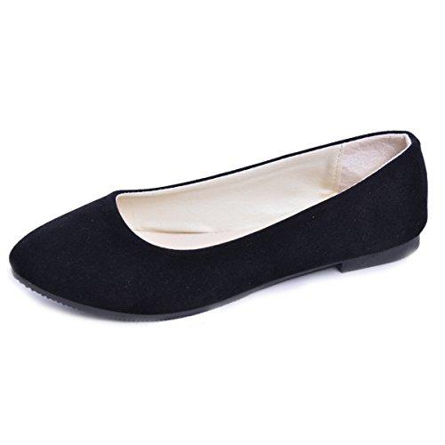 DeerYou Pointy Toe Ballet Flats Women Slip On Suede Ballerina Walking Shoes by Black US 9.5