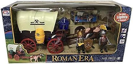 Diligencia de Romanos con Figuras Caravana Luces y Sonido/carruaje de Caballos con legionarios/para niños a Partir de 3 años