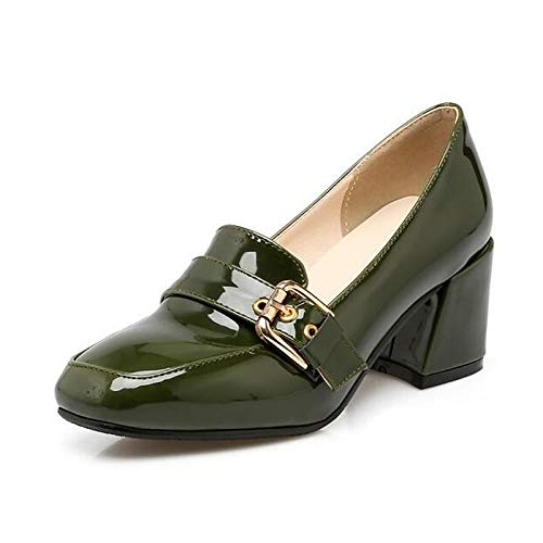 Red Women's Chunky Black Comfort Shoes Black Heels Spring Heel ZHZNVX Patent Leather Green 0fvxd0wq