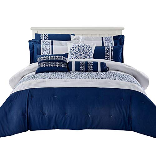 (Micasa Collections Premium Quality Sophia 9 PC Microfiber 100% Polyester Abstract Design All Seasons Ultra Soft Breathable Contemporary Elegant Bedroom Comforter Set (King))