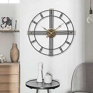 Wall clock Reloj Grande 50 cm Esqueleto Negro Metal Reloj de Pared de jardín 1 AA batería Sala de Estar Comedor 4
