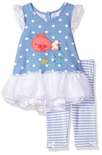 Nannette Girls' Little 2 Piece Swiss Dot Chiffon Top and Printed Legging, Blue, 3T