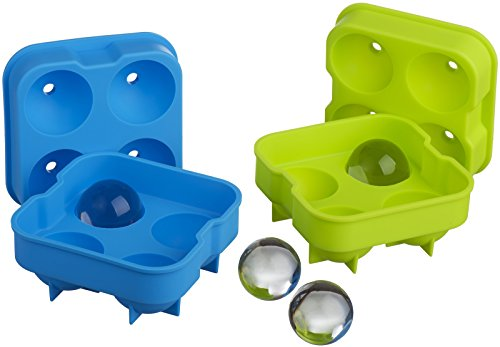 Kuuk Silicone Ice Ball Maker - Small (Twin Pack) Green and Blue