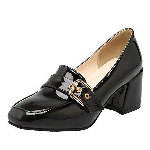 Mee Shoes Women's Work Mid Block Heel Court Shoes Black