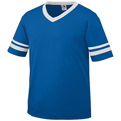 Royal Blue Jersey - Augusta Sportswear Sleeve Stripe Jersey, X-Large, Royal/White
